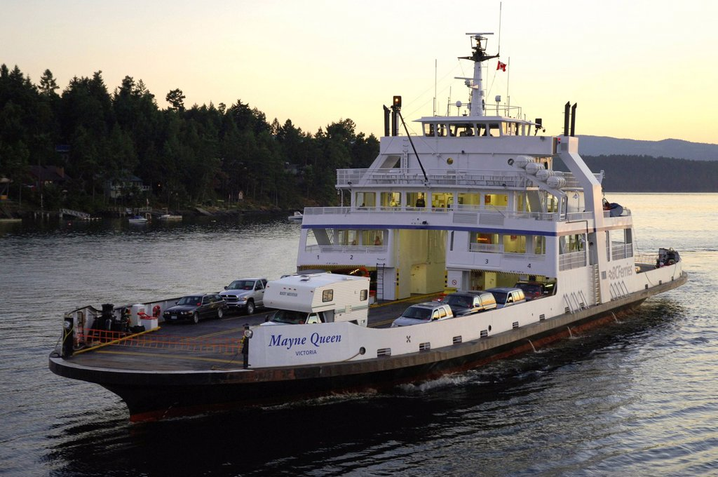 BC Ferry Mayne Queen in Active Pass, Southern Gulf Islands, British Columbia, Canada : Stock Photo