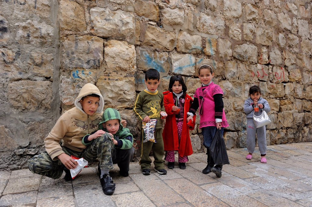 Palestinian children in the Arab Quarter, old town, Jerusalem, Israel, Middle East : Stock Photo