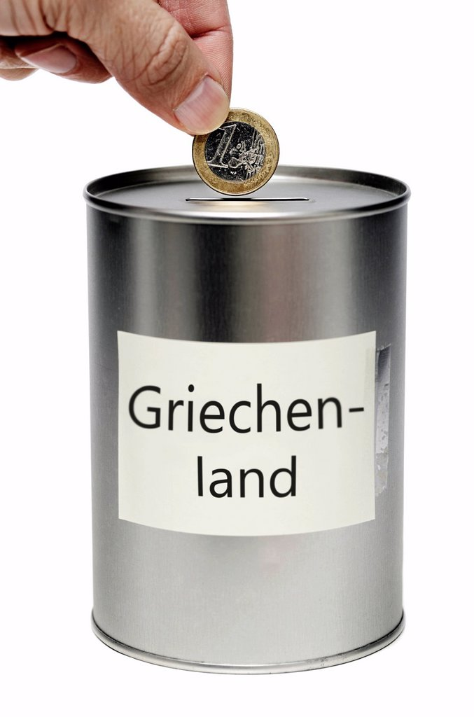 Stock Photo: 1848-594200 Collections tin for Greece, symbolic image for EU support for Greece