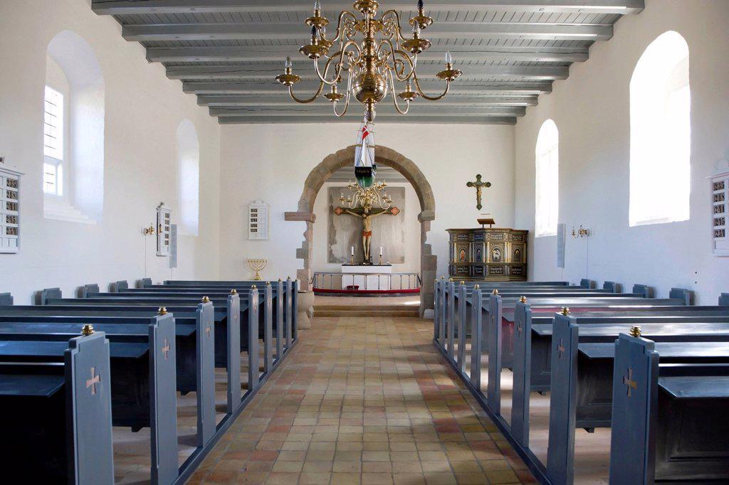 Inside Rubjerg church in Rubjerg, Northern Jutland, Denmark, Europe : Stock Photo