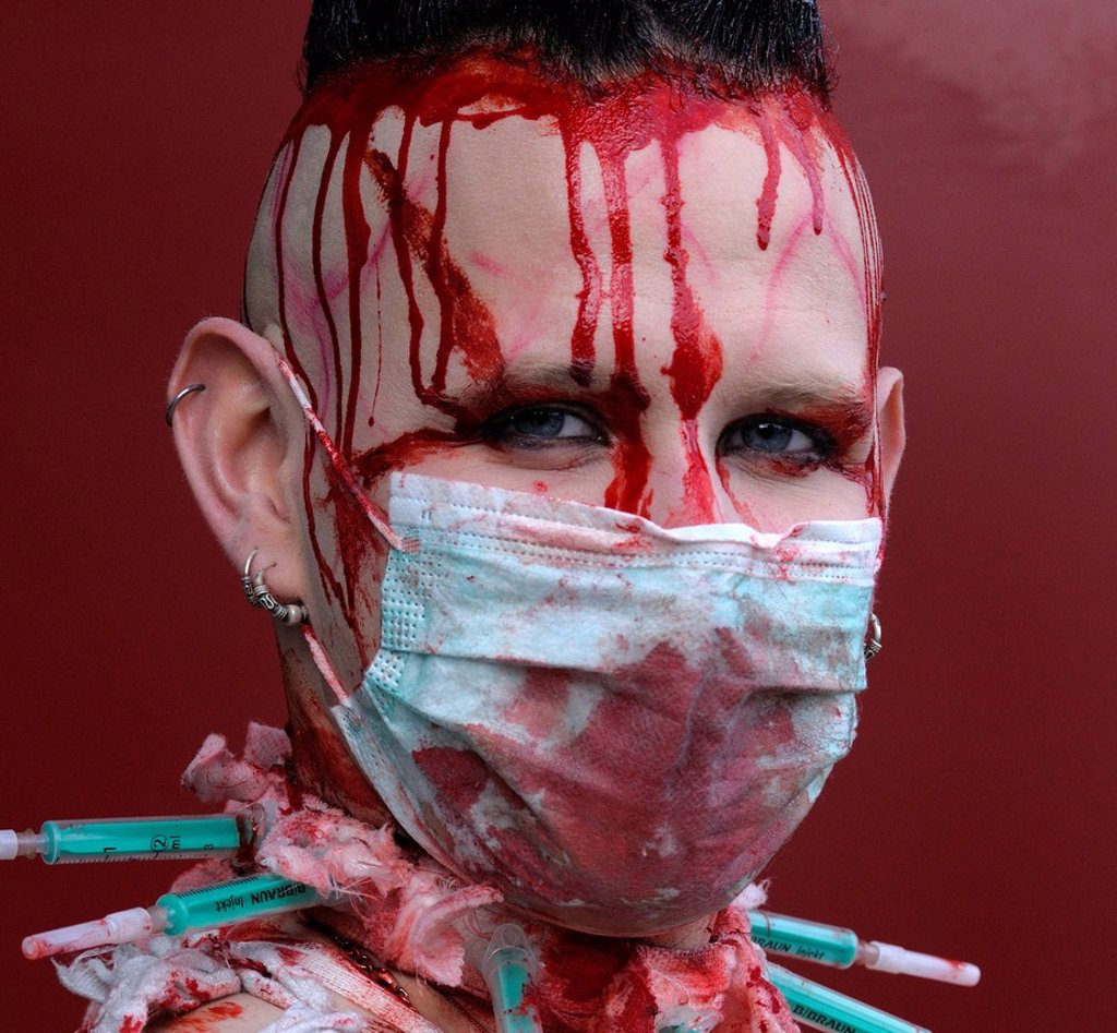 Stock Photo: 1848-594568 Young man, covered in fake blood, makeup, portrait, Wave_Gotik_Treffen festival, Leipzig, Saxony, Germany, Europe