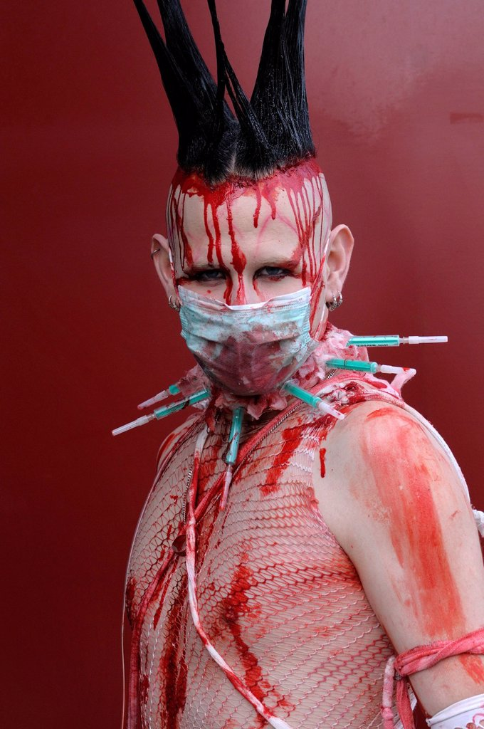 Stock Photo: 1848-594569 Young man, covered in fake blood, makeup, portrait, Wave_Gotik_Treffen festival, Leipzig, Saxony, Germany, Europe