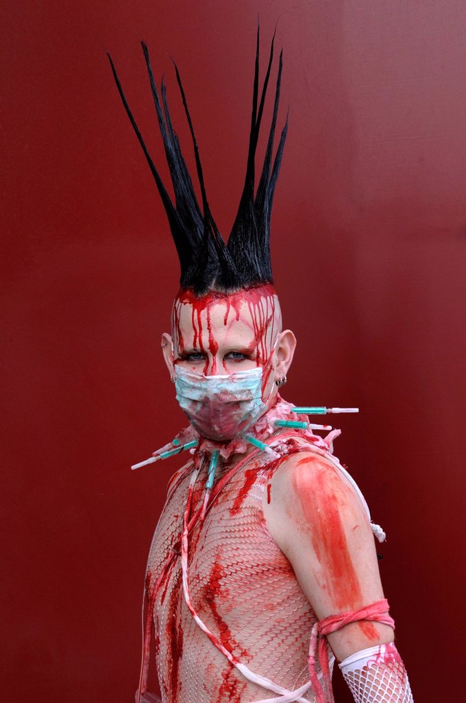 Stock Photo: 1848-594570 Young man, covered in fake blood, makeup, portrait, Wave_Gotik_Treffen festival, Leipzig, Saxony, Germany, Europe
