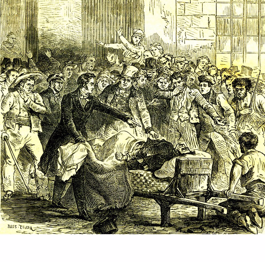Stock Photo: 1848-594992 Cholera epidemy in 1832, historical illustration, 1840