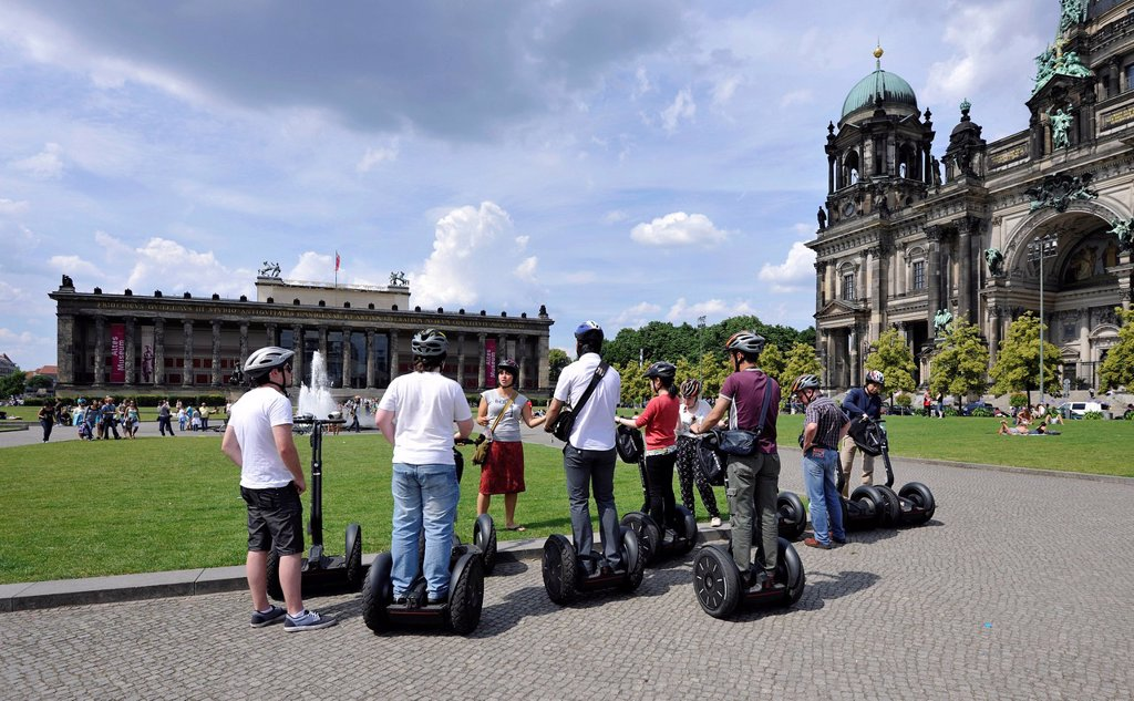 Stock Photo: 1848-595061 City tour for tourists riding Segways, in front of Berlin Cathedral, Supreme Parish and Collegiate Church in Berlin, and Altes Museum, Lustgarten pleasure garden, Museum Island, UNESCO World Heritage Site, Mitte district, Berlin, Germany, Europe, PublicGr. City tour for tourists riding Segways, in front of Berlin Cathedral, Supreme Parish and Collegiate Church in Berlin, and Altes Museum, Lustgarten pleasure garden, Museum Island, UNESCO World Heritage Site, Mitte district, Berlin, Germany, Euro
