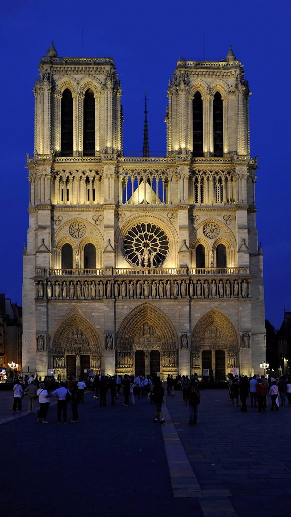Stock Photo: 1848-595291 Night view, west façade, Cathedral of Notre_Dame de Paris, Ile de la Cite, Paris, France, Europe, PublicGround