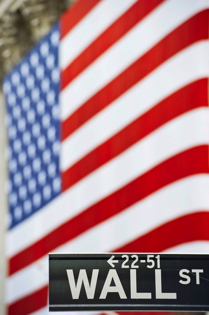 Stock Photo: 1848-595529 Wall Street street sign in front of a U.S. flag, Manhattan, New York, USA, America