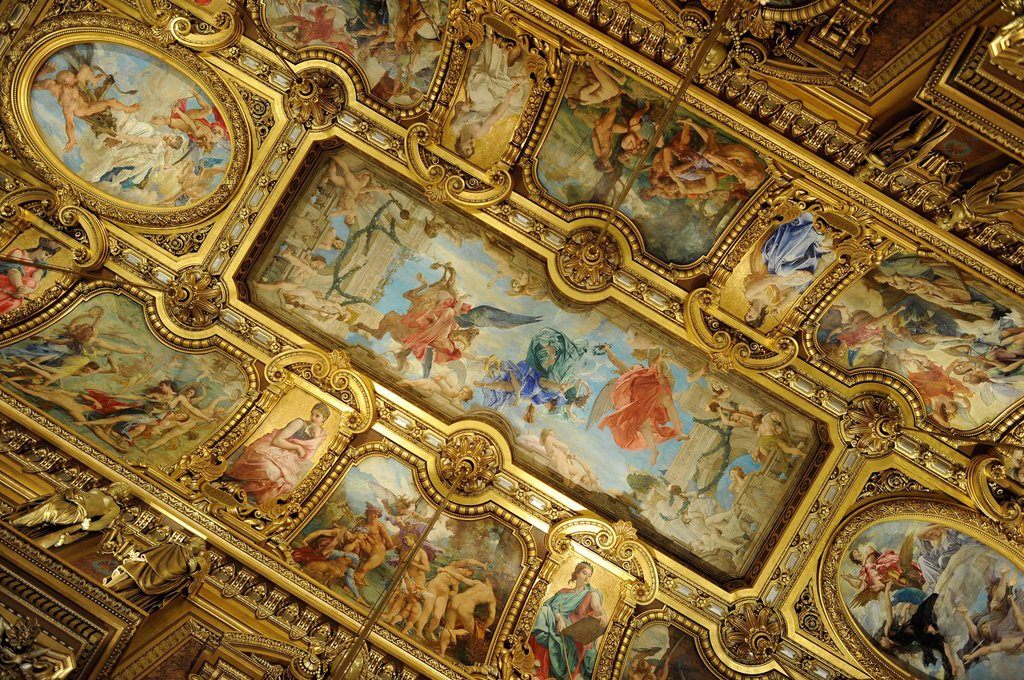 Stock Photo: 1848-595610 Interior, ceiling painting by Paul Baudry with motifs from music history, Grand Foyer, Opéra Garnier, Paris, France, Europe