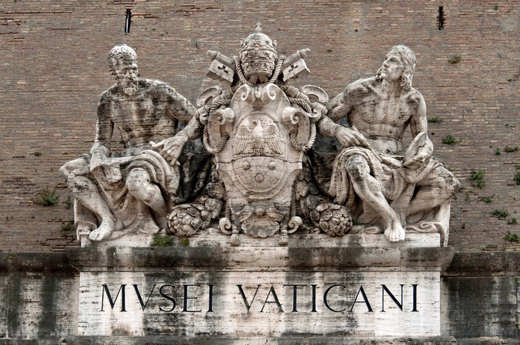 Stock Photo: 1848-595704 Statues of saints on the coat of arms of Pope Pius XI, portal to the Vatican Museums, Vatican Walls, Vatican City, Rome, Lazio, Italy, Europe