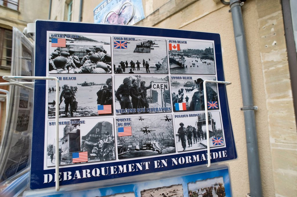 Stock Photo: 1848-595729 Placemat with motifs from the landing of the Allies in Normandy on D_Day, Bayeux, Normandy, France, Europe