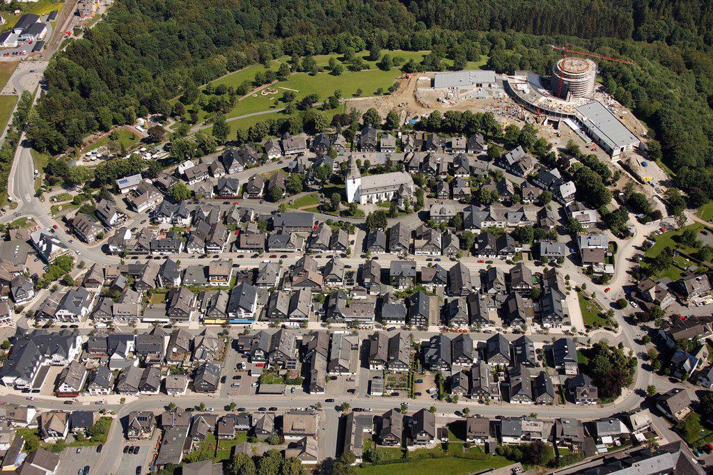 Stock Photo: 1848-595735 Aerial view, Winterberg Mitte with St.Jakobus Parish Church, Sauerland, North Rhine_Westphalia, Germany, Europe