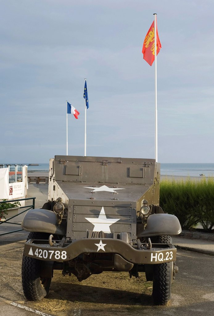 Arromanches_les_Bains, D_Day, Gold Beach, vehicle of the Allied Powers, Normandy, France, Europe : Stock Photo