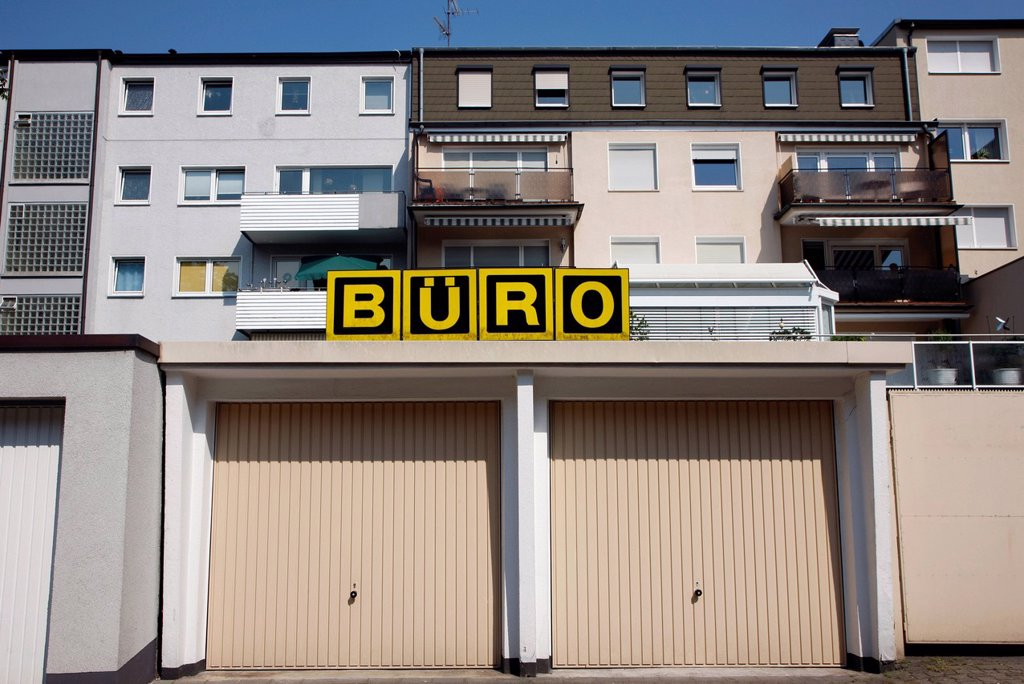 Stock Photo: 1848-595753 Garages for cars, above a sign saying Buero, German for office, Gelsenkirchen, North Rhine_Westphalia, Germany, Europe