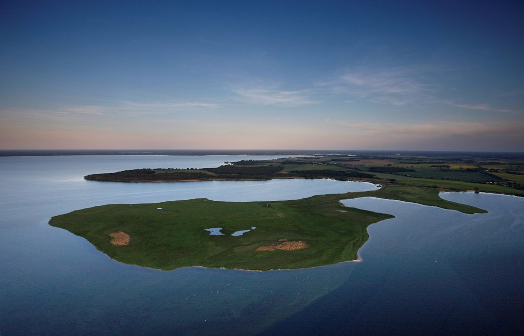Aerial view, Grosser Schwerin peninsula, Naturschutzgebiet Grosser Schwerin mit Steinhorn nature reserve, Mueritzsee, Mueritz county, Mecklenburg_Western Pomerania, Germany, Europe : Stock Photo
