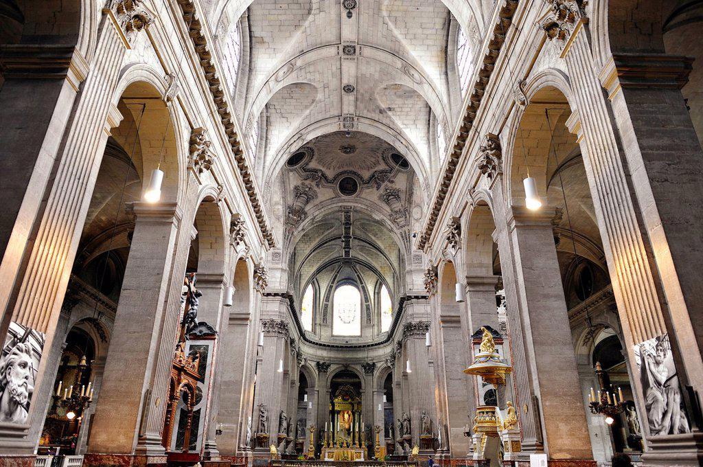 Stock Photo: 1848-596067 Nave and altar, Catholic parish church of Saint_Sulpice de Paris, Saint_Germain_des_Prés, Paris, France, Europe