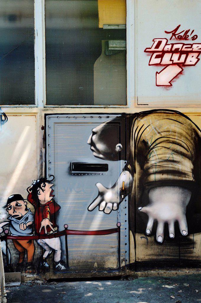 Monster graffiti near the Theater_Halle 7, Gerolsteiner Ring, Munich, Bavaria, Germany, Europe, PublicGround : Stock Photo