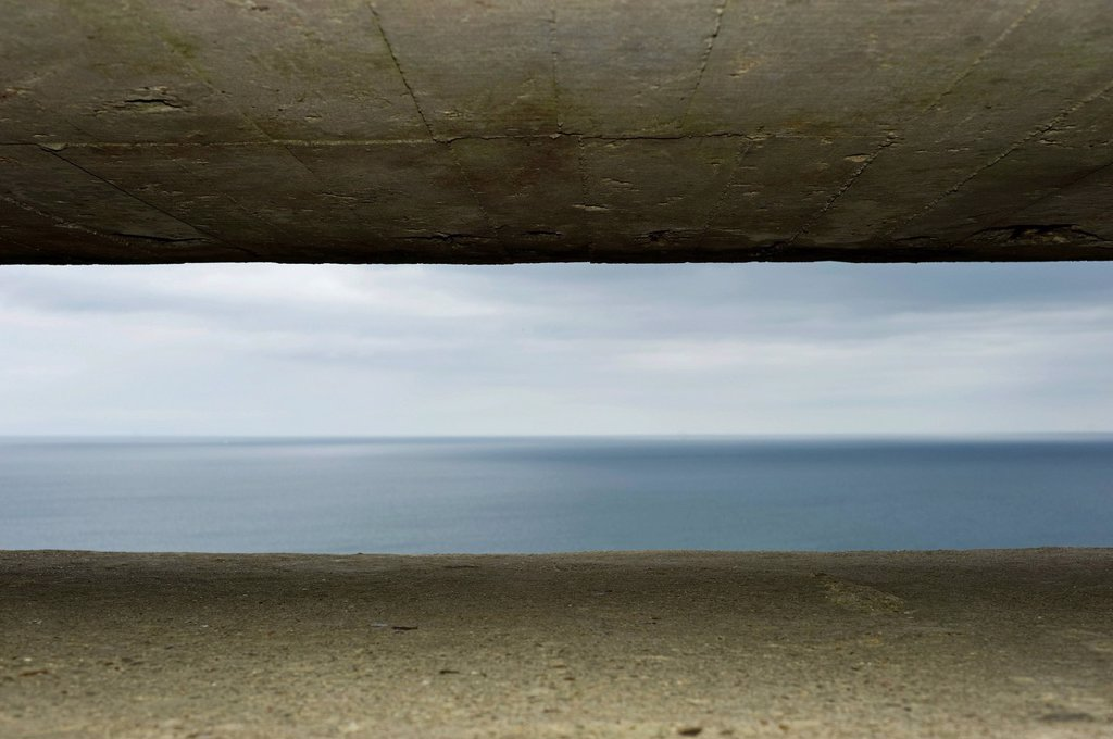 Atlantic Wall, D_Day, view from a German command post on the English Channel, Longues sur Mer, Normandy, France, Europe : Stock Photo