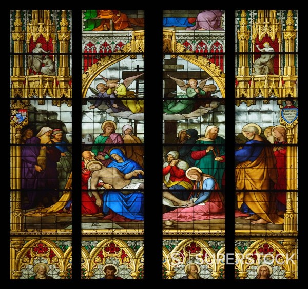 Stock Photo: 1848-596625 Window of the Lamentation of Christ, corpse of the Dead Christ in the arms of Mary, Cologne Cathedral, UNESCO World Heritage Site, Cologne, North Rhine_Westphalia, Germany, Europe