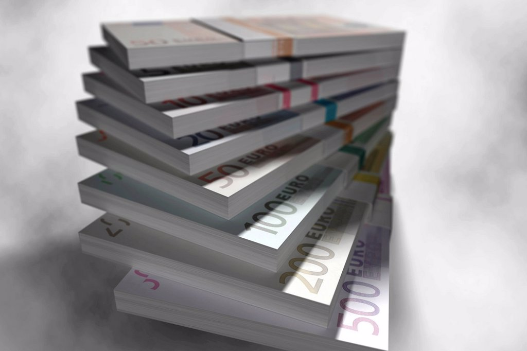 Stock Photo: 1848-596752 Stack of euro banknotes, illustration