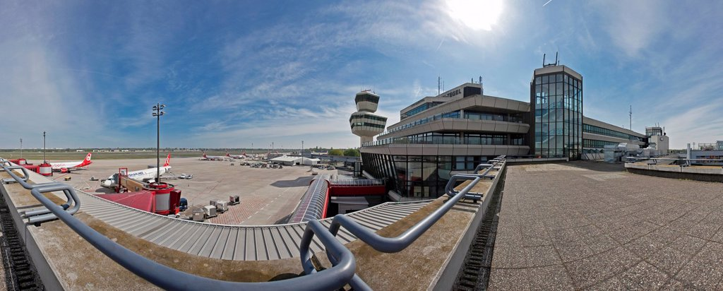Stock Photo: 1848-596753 Panoramic view of Airport Berlin_Tegel Otto Lilienthal, 38 years, before its final closure in June 2012, Berlin, Germany, Europe