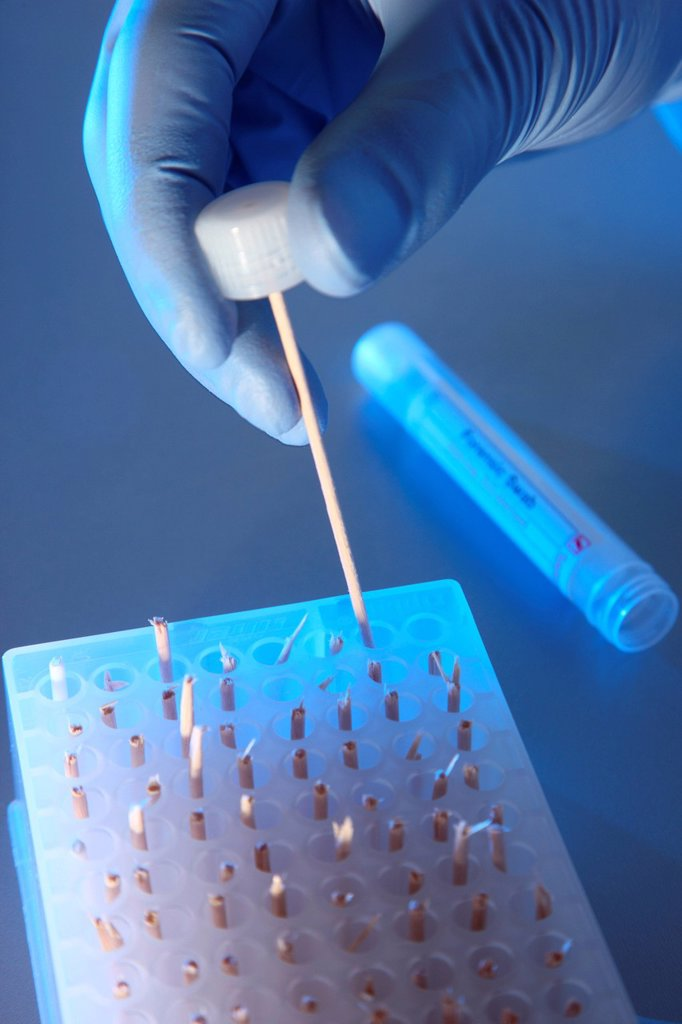 Stock Photo: 1848-596874 Kriminaltechnisches Institut, KTI, Forensic Science Institute, DNA analysis, DNA screening, trace carriers are examined for DNA evidence, police, Landeskriminalamt, LKA, State Criminal Police Office, North Rhine_Westphalia, Germany, Europe