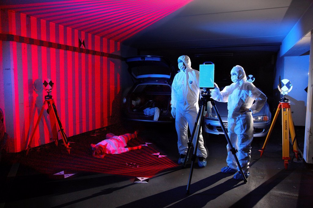 Stock Photo: 1848-596889 Kriminaltechnisches Institut, KTI, Forensic Science Institute, crime scene surveyor, with the help of a 3D laser scanner a three_dimensional image of a crime scene is created, police, Landeskriminalamt, LKA, State Criminal Police Office, North Rhine_Westp. Kriminaltechnisches Institut, KTI, Forensic Science Institute, crime scene surveyor, with the help of a 3D laser scanner a three_dimensional image of a crime scene is created, police, Landeskriminalamt, LKA, State Criminal Police Office, North