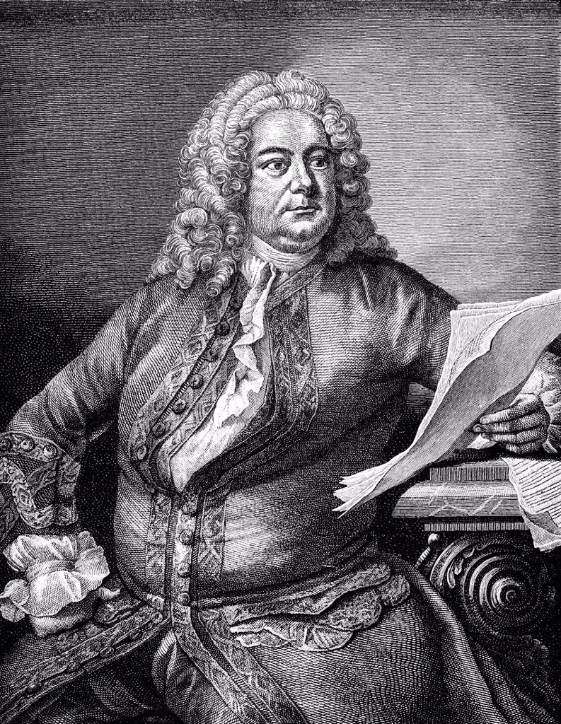 Historical drawing from the 19th Century, portrait of Goerg Friedrich Haendel or George Frideric Handel, 1685_1759, German_British composer of the Baroque : Stock Photo