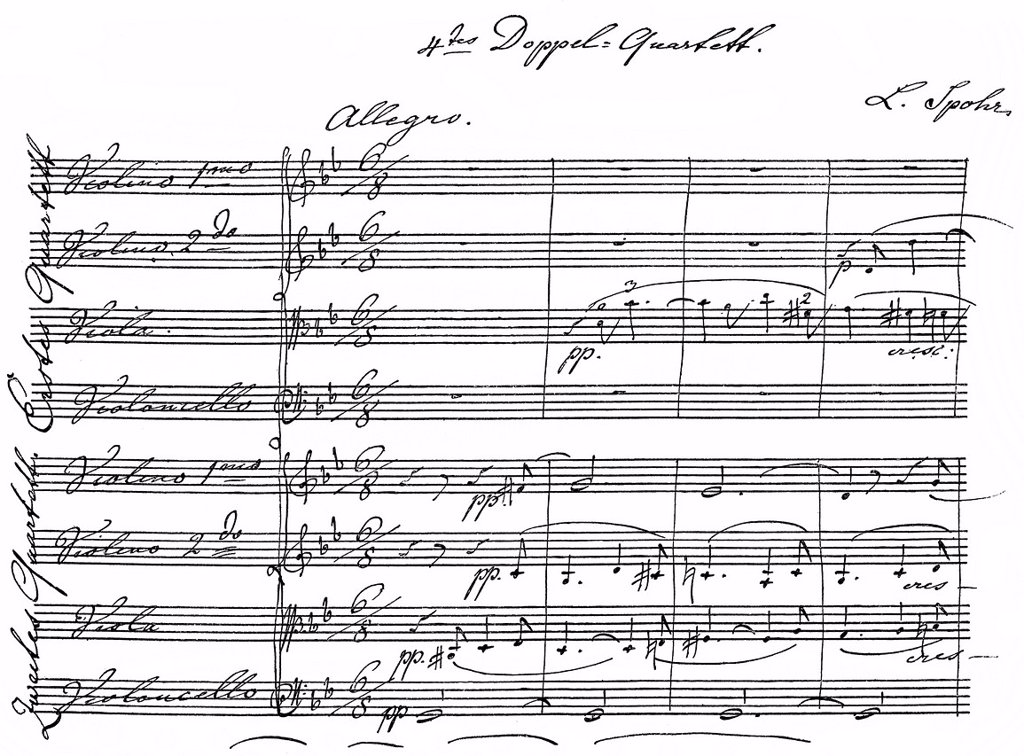 Stock Photo: 1848-596958 Double Quartet No. 4 in G minor, Opus 136, 1847, historical sheet music manuscript, by Louis or Ludwig Spohr