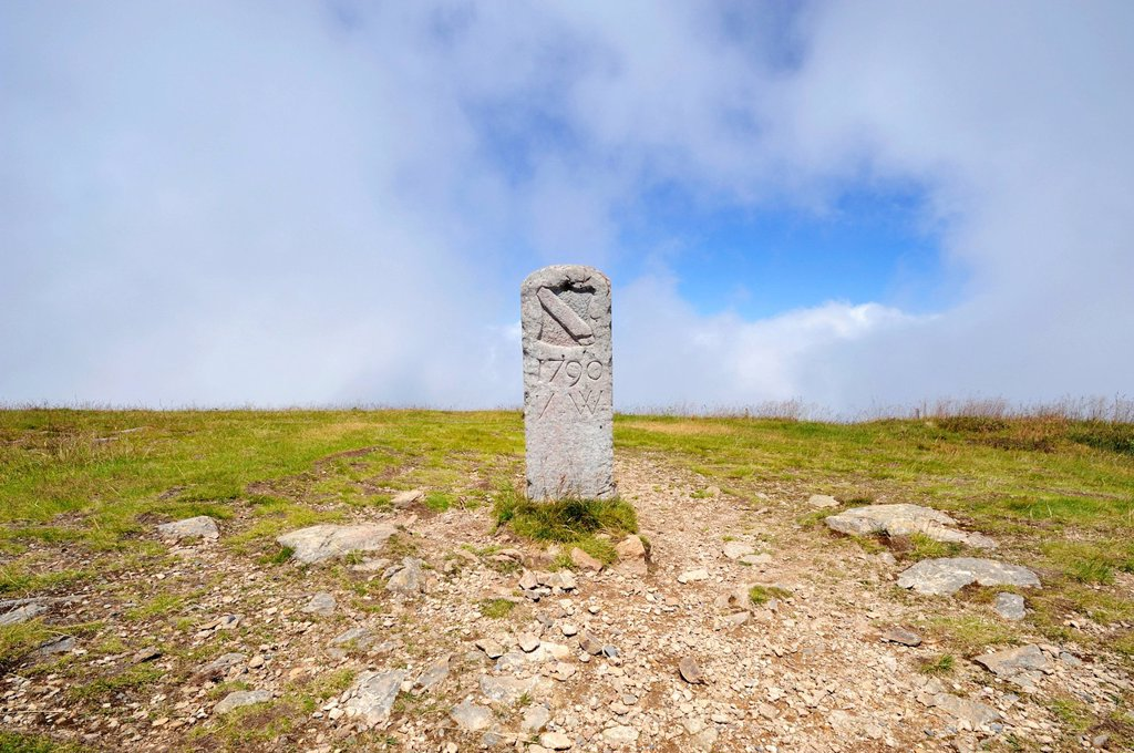 Stock Photo: 1848-597094 Old landmark or boundary stone from the Baden region, 1790, on Mt Belchen, 1414m, Breisgau region, Upper Black Forest region, Baden_Wuerttemberg, Germany, Europe