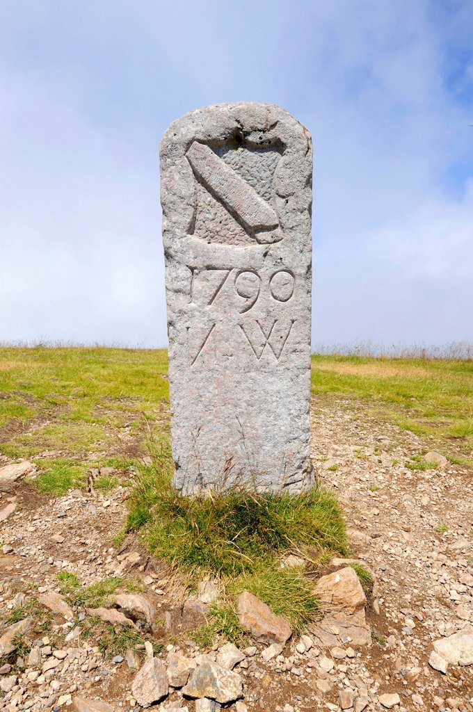 Stock Photo: 1848-597095 Old landmark or boundary stone from the Baden region, 1790, on Mt Belchen, 1414m, Breisgau region, Upper Black Forest region, Baden_Wuerttemberg, Germany, Europe