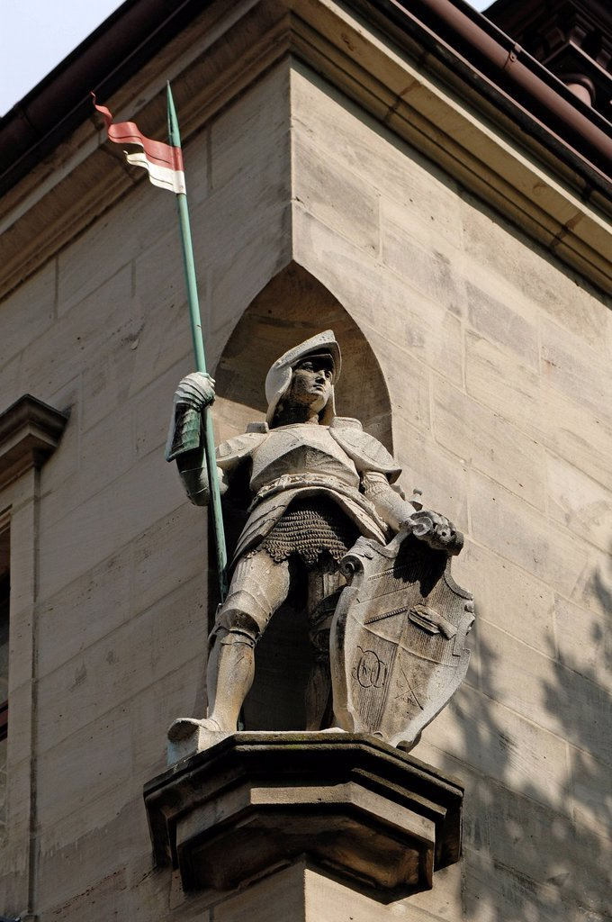 Knight sculpture on the Ansbacher House, built in 1898, headquarters of the Corps Onoldia fraternity, Nuernberger Strasse 8, Erlangen, Middle Franconia, Bavaria, Germany, Europe : Stock Photo