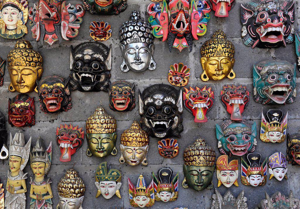 Stock Photo: 1848-597233 Balinese masks, Tenganan, Bali, Indonesia, Southeast Asia