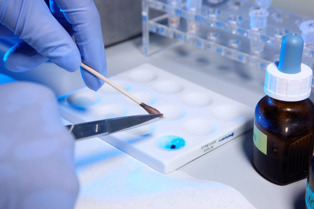 Stock Photo: 1848-597510 Kriminaltechnisches Institut, KTI, Forensic Science Institute, DNA analysis, trace carriers are examined for DNA evidence, police, Landeskriminalamt, LKA, State Criminal Police Office, North Rhine_Westphalia, Germany, Europe