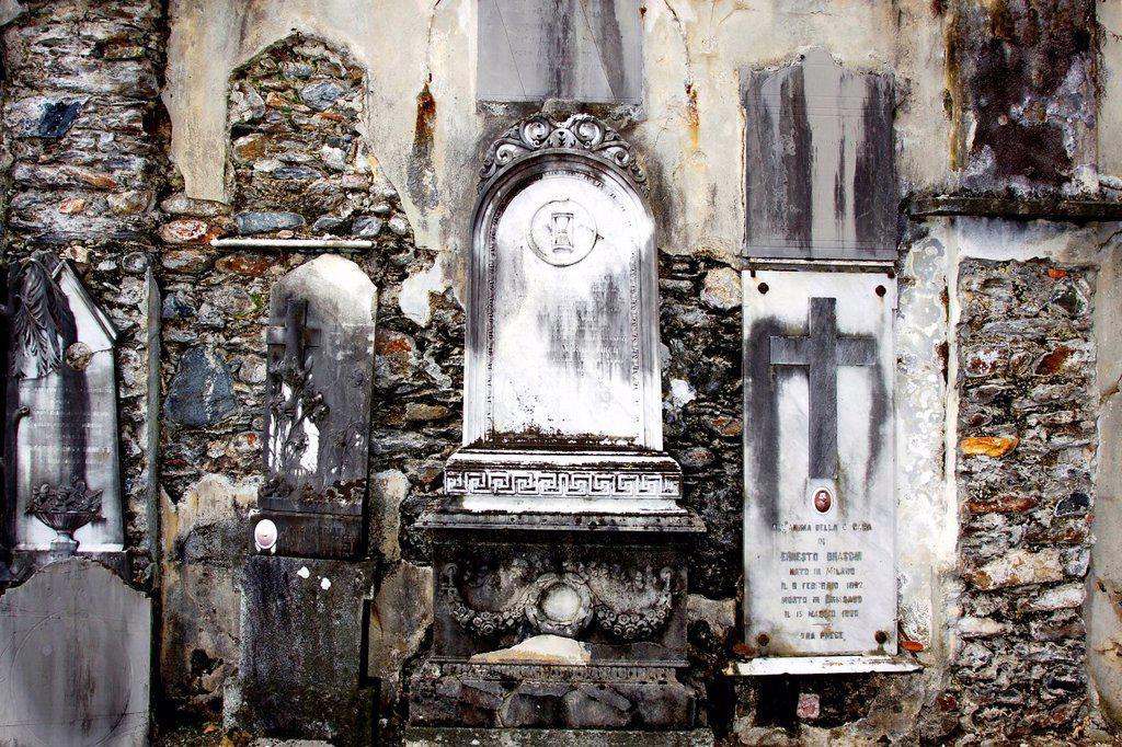 Gravestones in the old cemetery in Brissago, Lago Maggiore, Ticino, Switzerland, Europe : Stock Photo