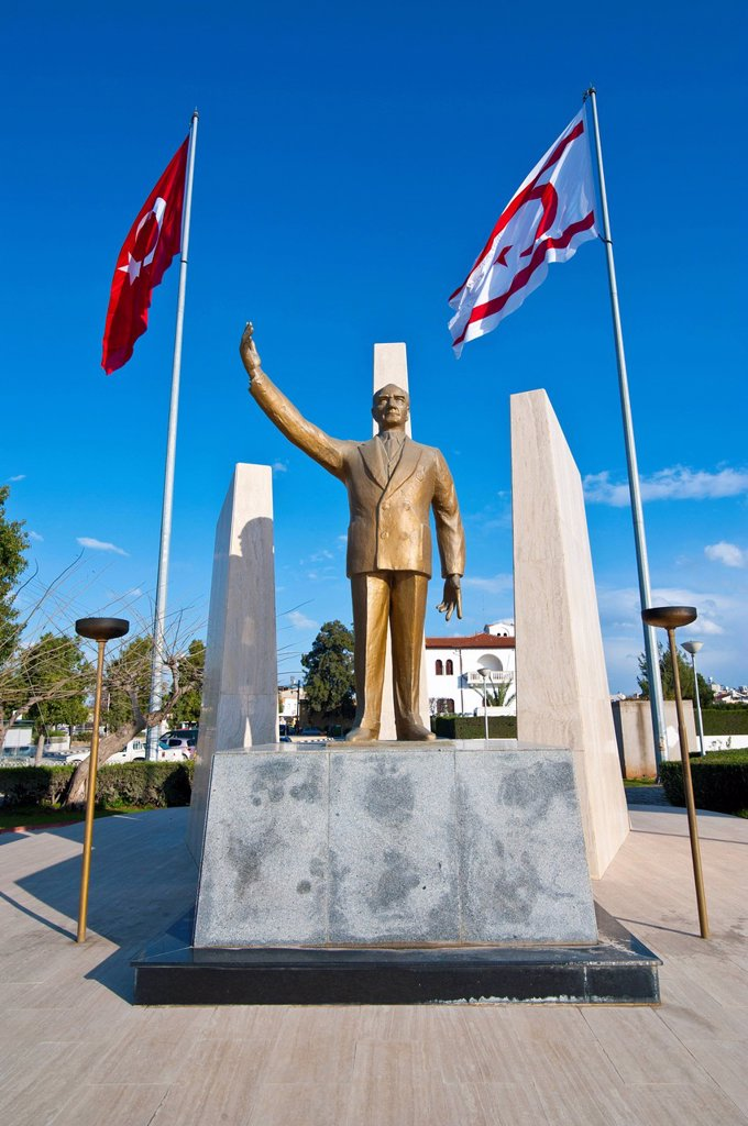 Monument for Mustafa Kemal Atatuerk, Turkish part of Cyprus : Stock Photo