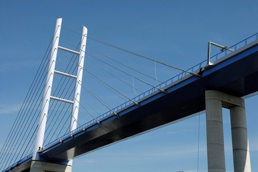 New Ruegenbruecke bridge, Stralsund, Mecklenburg_Western Pomerania, Germany : Stock Photo