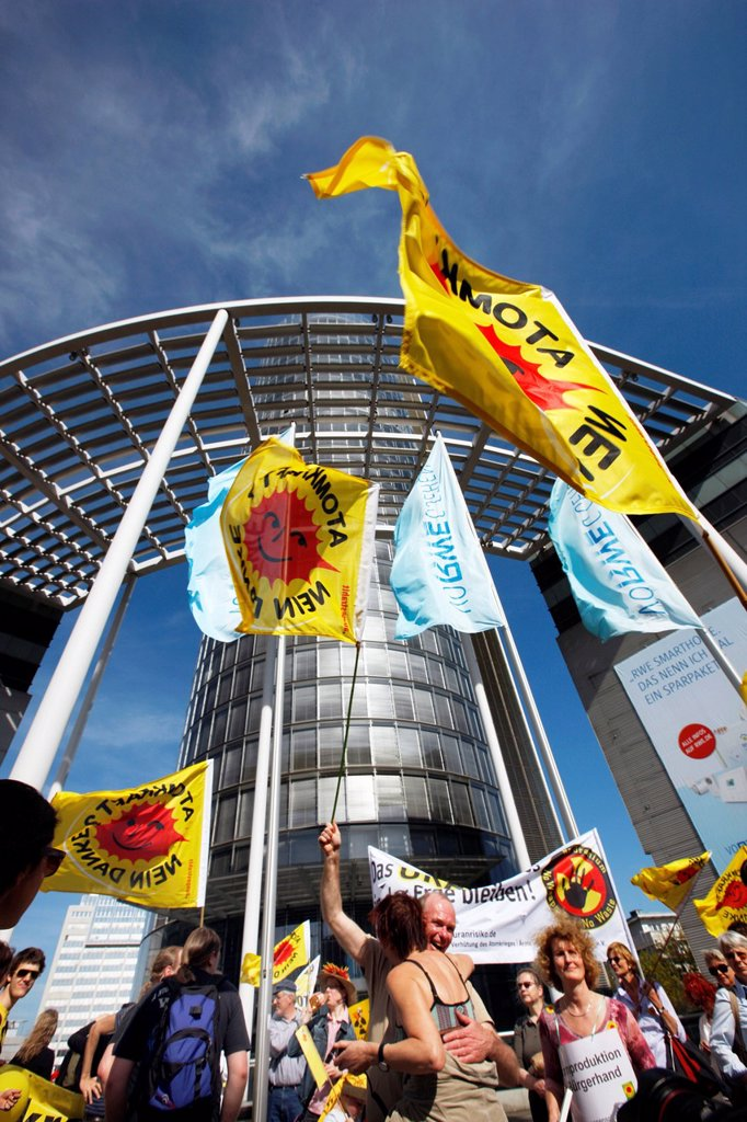 Anti_nuclear demonstration outside the headquarters of the RWE energy company in Essen, North Rhine_Westphalia, Germany, Europe : Stock Photo