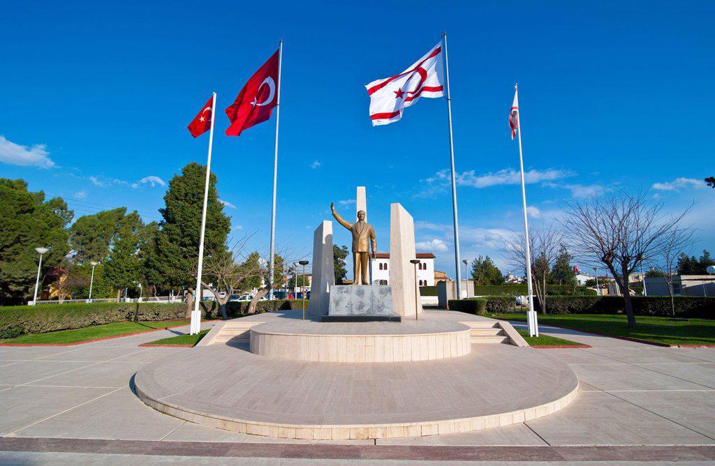 Monument for Mustafa Kemal Atatuerk, Turkish part of Cyprus : Stock Photo