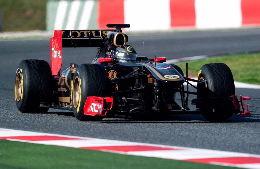 Stock Photo: 1848-598520 Nick Heidfeld, Germany, in his Lotus Renault GP Team_Renault R31 race car, motor sports, Formula 1 testing on the Circuit de Catalunya race car in Barcelona, Spain, Europe