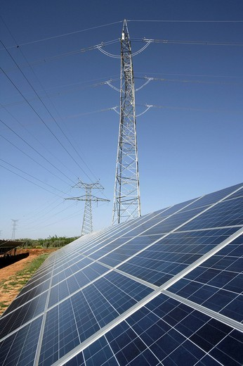 ESP, Spain, Beneixama: Solar power station, built by the german City_Solar_Group : Stock Photo