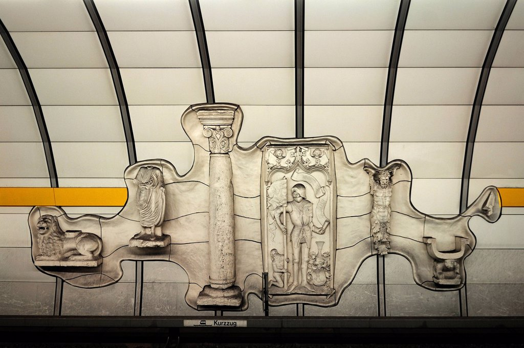 Stock Photo: 1848-598789 Relief at U_Bahn Lehel, underground railway station, Munich, Bavaria, Germany, Europe