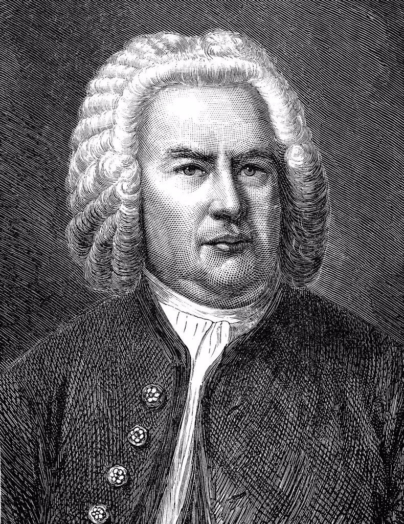 Stock Photo: 1848-599106 Historical drawing from the 19th Century, portrait of Johann Sebastian Bach, 1685_1750, German composer and organ and piano virtuoso of the Baroque