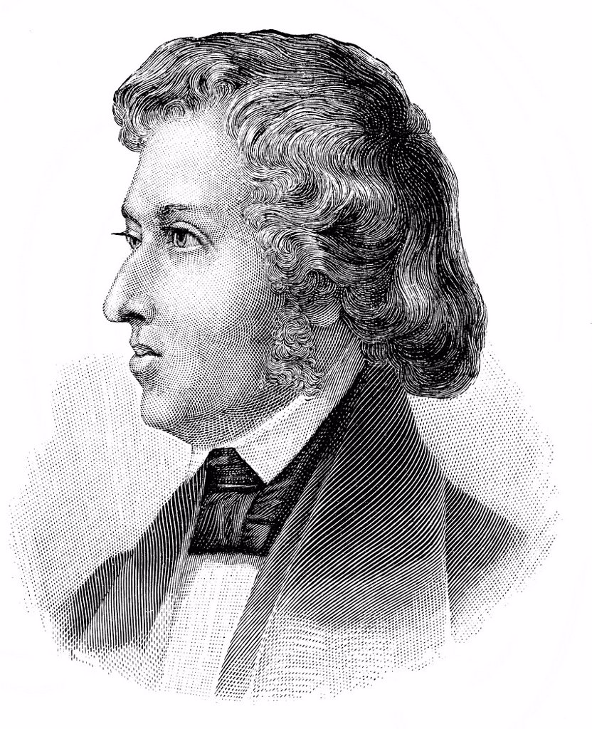 Historical drawing from the 19th Century, portrait of Frédéric François Chopin or Fryderyk Franciszek Chopin, 1810_1849, Polish_French pianist and piano composer : Stock Photo