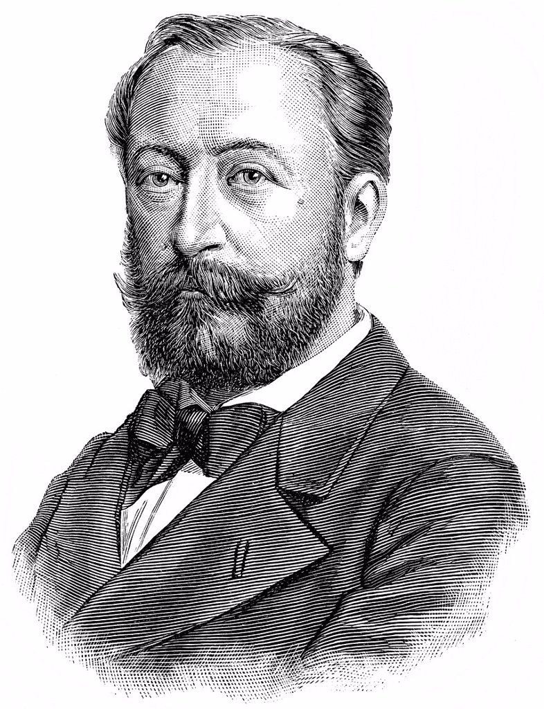 Stock Photo: 1848-599122 Historical drawing, portrait of Charles Camille Saint_Saëns, 1835_1921, French pianist, organist, musicologist, music teacher and composer of Romanticism