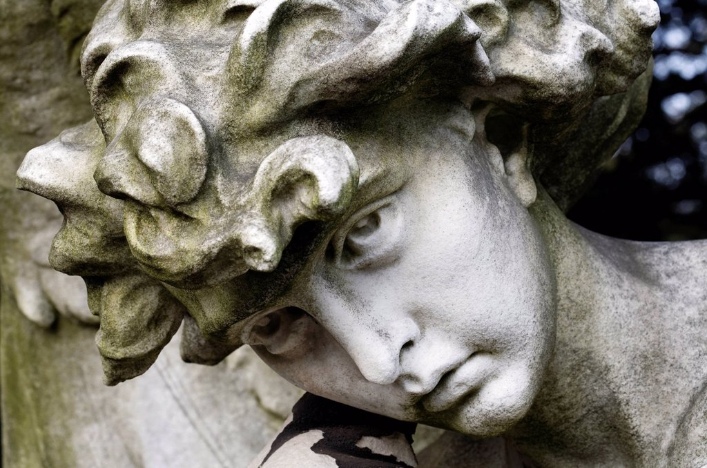 Stock Photo: 1848-599258 Face of a mourning angel, historic grave sculpture for the painter Andreas Achenbach, Nordfriedhof cemetery, Duesseldorf, North Rhine_Westphalia, Germany, Europe