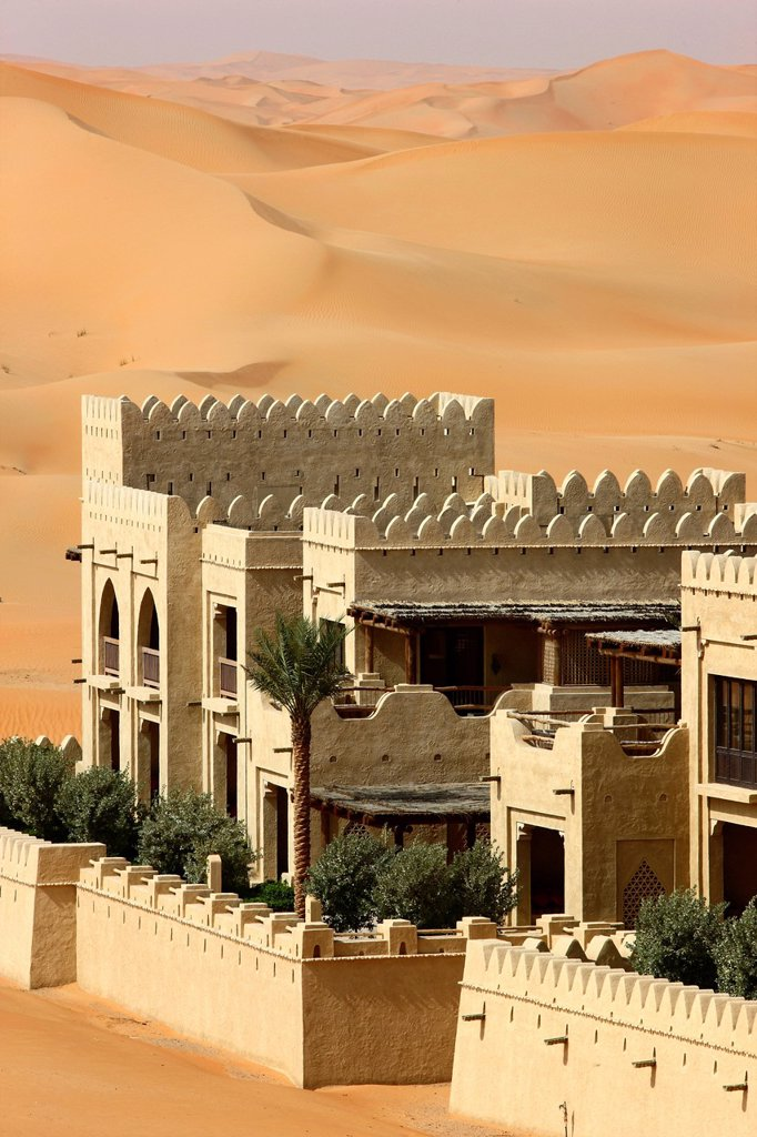 Stock Photo: 1848-599393 Desert luxury hotel Anantara Qasr Al Sarab, hotel resort built like a desert fort, surrounded by high sand dunes, near the Liwa oasis in the desert Empty Quarter or Rub Al Khali, Abu Dhabi, United Arab Emirates, Middle East