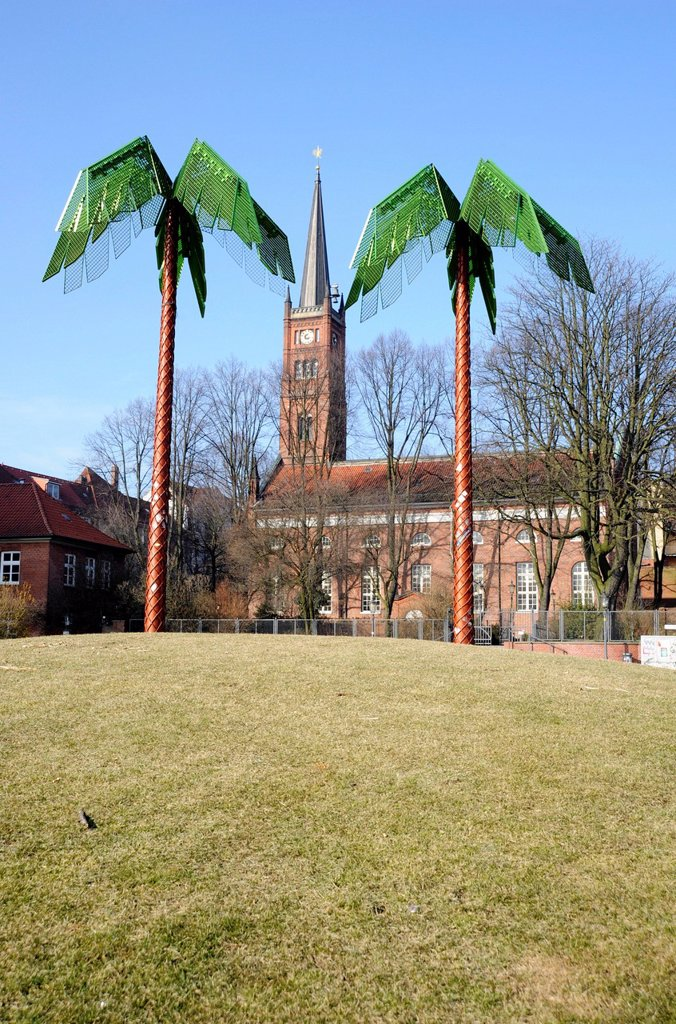 Stock Photo: 1848-599773 Antoni_Park with artificial palm trees on Pinnasberg and St. Paul Church on Hafenstrasse, St. Pauli, Hamburg, Germany, Europe