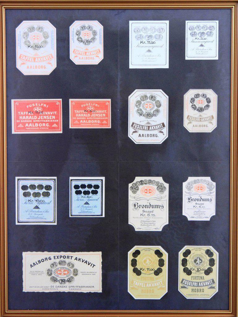 Old Akvavit labels, Aalborg Akvavit spirits factory, Aalborg, North Jutland, Denmark, Europe : Stock Photo