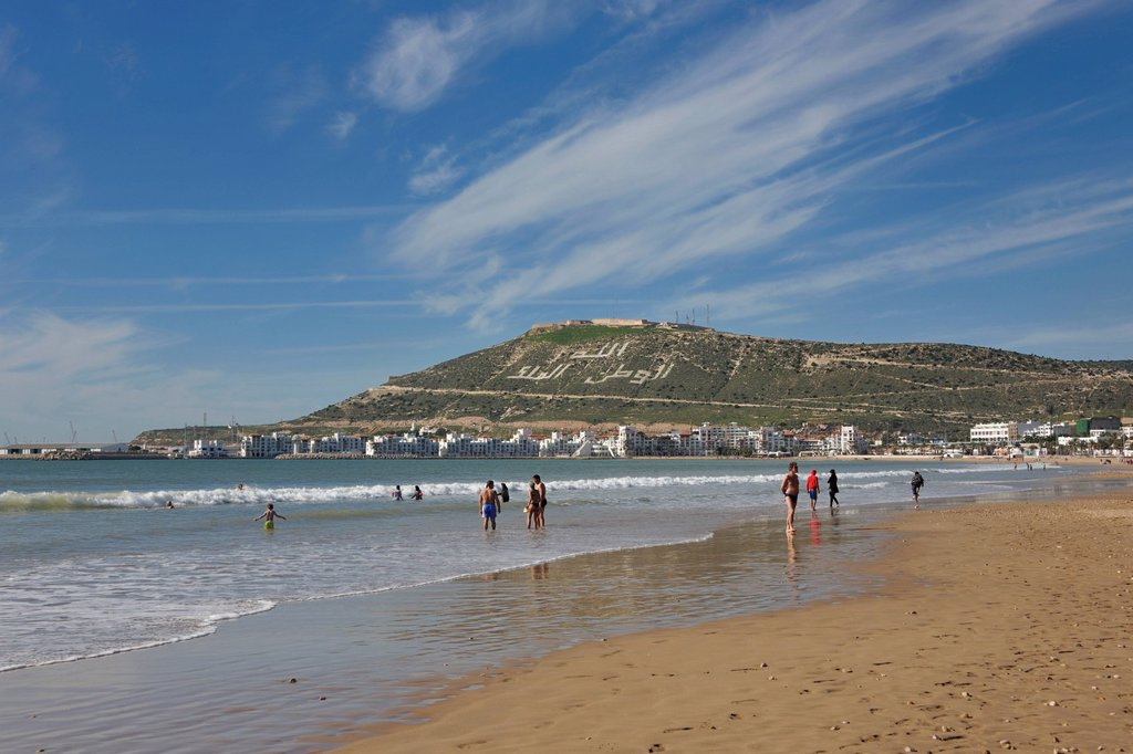 Stock Photo: 1848-599873 Agadir Beach, hill with the words, Allah, al_Watan, al_Malik, meaning Allah, the Homeland, the King, Morocco, Africa