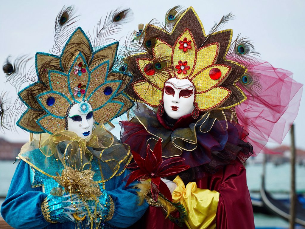 Venetian Masks, Carnival in Venice, Veneto, Italy, Europe : Stock Photo
